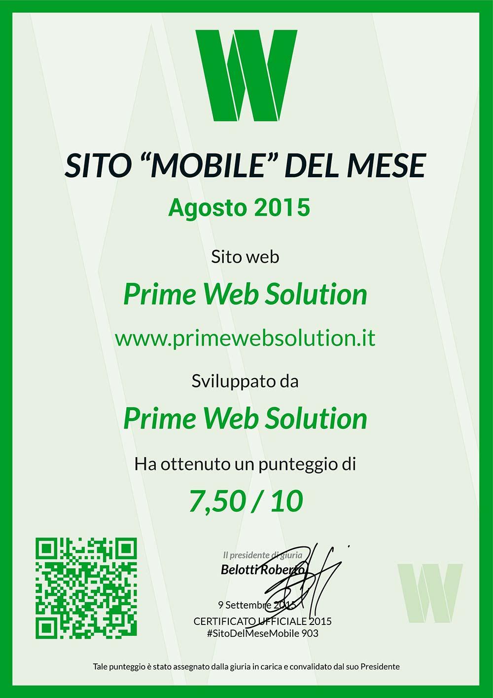 """Il nostro sito è stato nominato """"Miglior sito Mobile del Mese"""""""